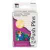 (10 Bx) Push Pins Assorted Colors 100 Pins Per Box