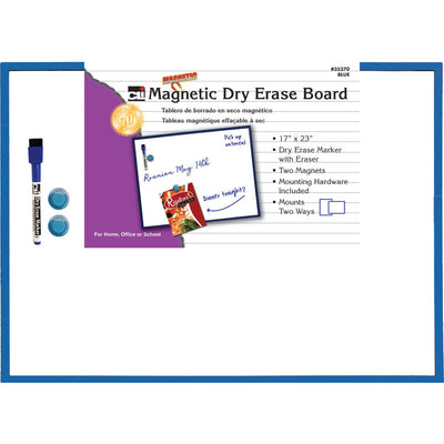 Magnetic Dry Erase Board Blue Frame 17x23 W- Eraser And Marker