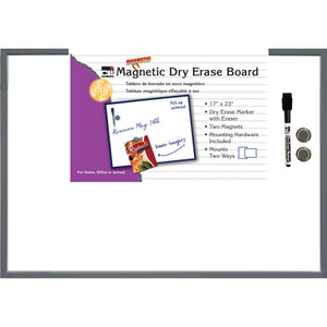 Magnetic Dry Erase Board Grey Frame 17x23 With Eraser And Marker