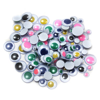 (12 Pk)wiggle Eyes Round Asst Sizes & Colors 100 Per Pk