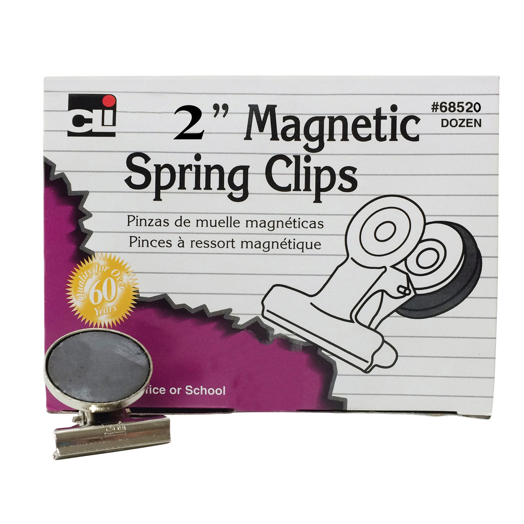 (3 Bx) Magnetic Spring Clips 2in 12 Per Box