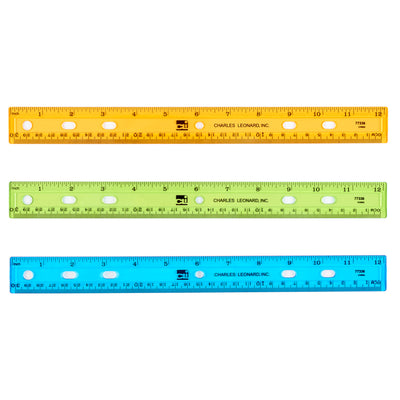 (72 Ea) Translucent 12in Plastic Ruler Asst Colors