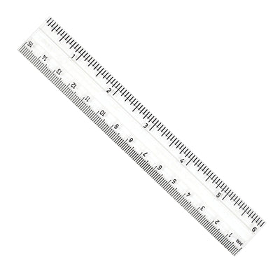 Clear Plastic 6in Ruler Inches - Metric