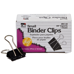 (48 Bx) Binder Clips 12 Per Bx Small 3-8in Capacity