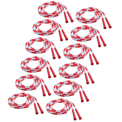 (12 Ea) Plastic Segmented Ropes 7ft Red & White