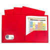 (2 Pk) Red 2 Pocket Poly Portfolios W-o Prongs 10 Per Pack