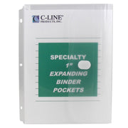 Binder Pocket 10pk Hook & Loop Closure Clear