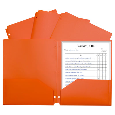 2 Pocket Poly Portfolio Orange W- 3 Hole Punch