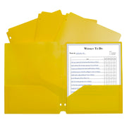 2 Pocket Poly Portfolio Yellow W- 3 Hole Punch