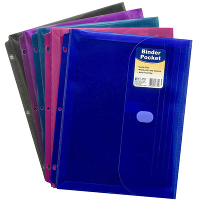(18 Ea) Binder Pocket W- Hook & Loop Closure Asstd Colors