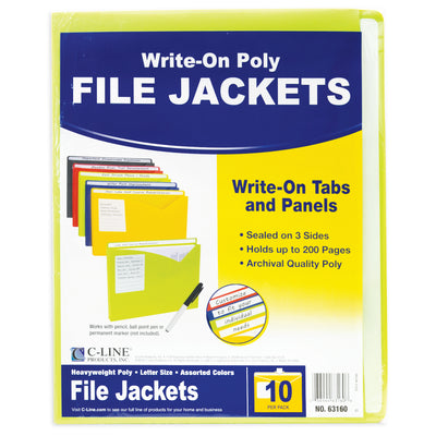 (2 Pk) C Line Asst Write On Poly File Jackets 10 Per Pk