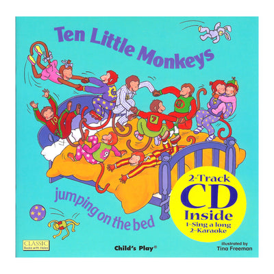 (3 Ea) Ten Little Monkeys 8x8 Book With Cd