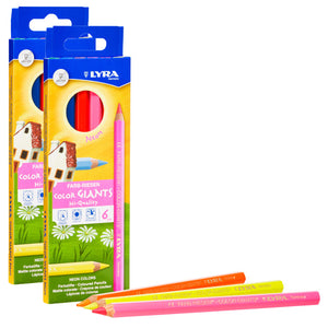 (2 Pk) Giant Colored Pencils Neon 6pk Lyra Color