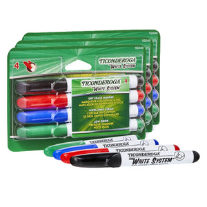 (3 Pk) Dry Erase Markers 4 Assorted Colors Chisel Tip