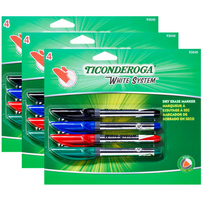 (3 Pk) Dry Erase Markers Fine Tip 4 Colors