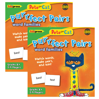 (2 Ea) Pete The Cat Purrfect Pairs Word Families Game