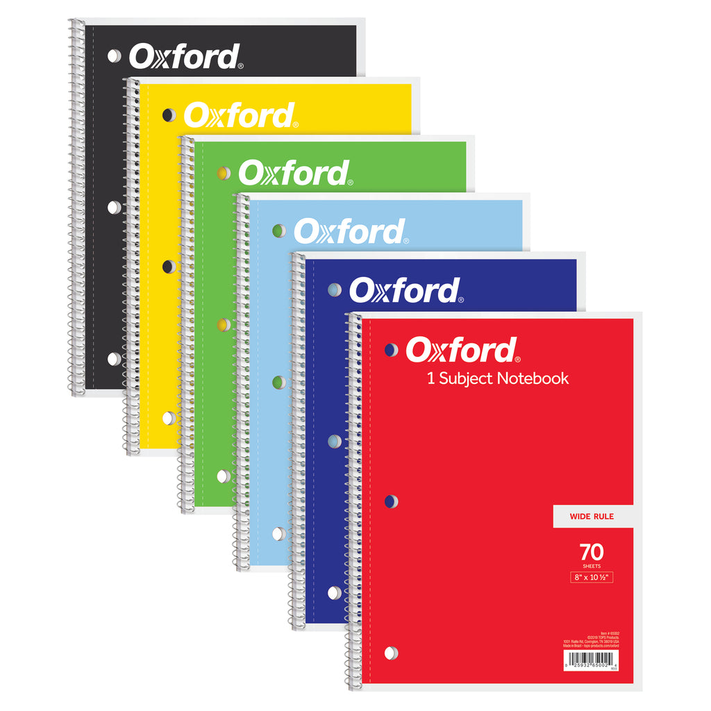 (6 Ea) Oxford 1 Subject Notebook 70 Sheets Wide Rule