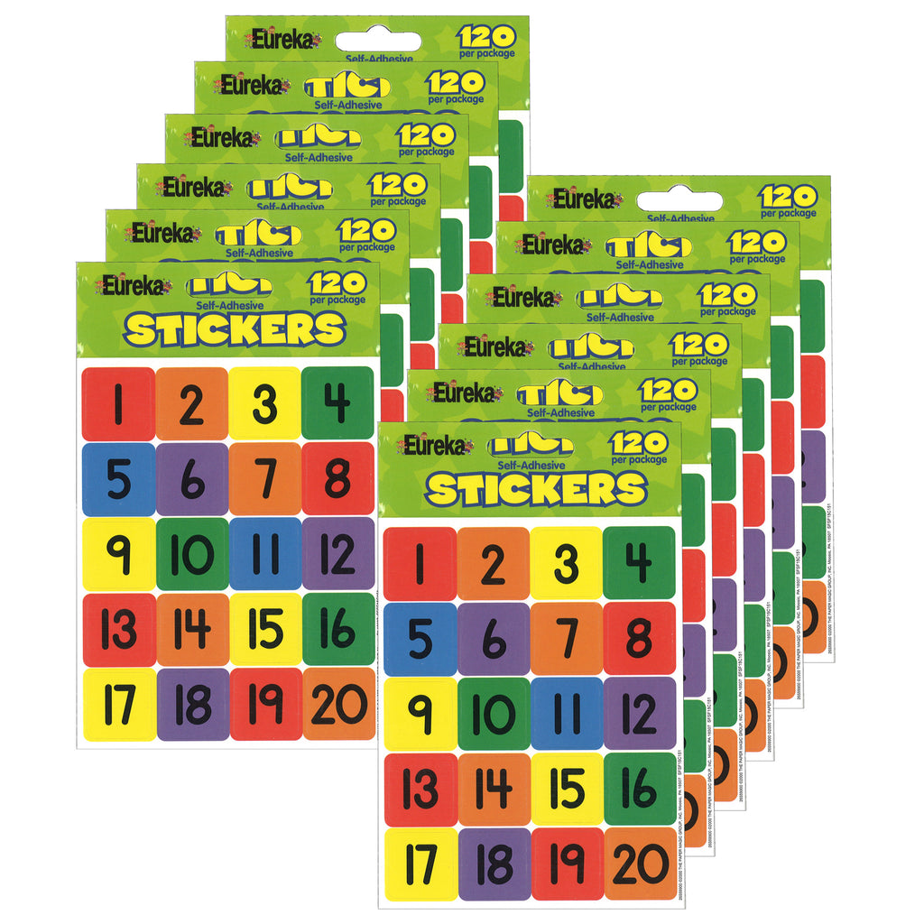 (12 Pk) Numbers 1-20 Theme Stickers