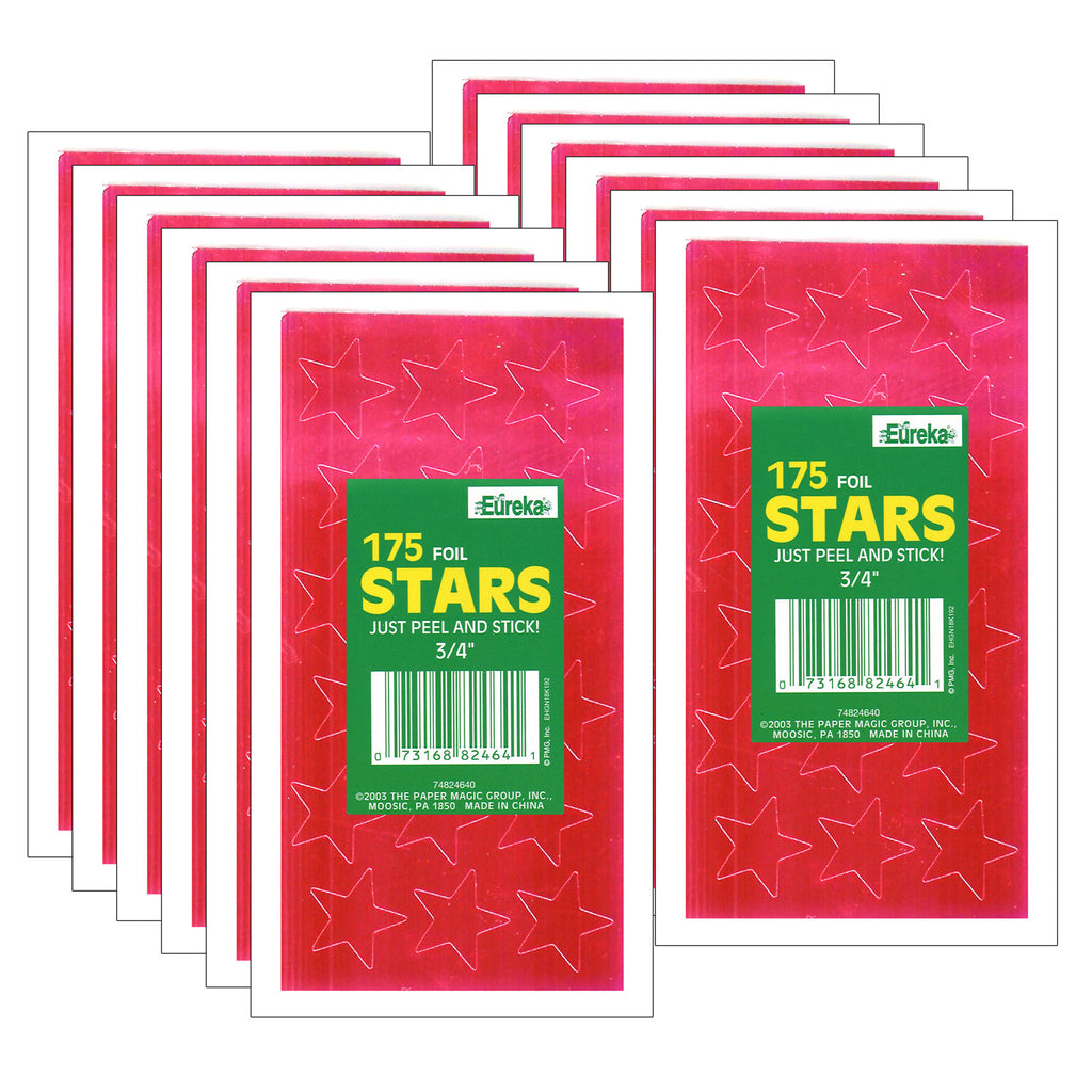 (12 Pk) Stickers Foil Stars .75in Red