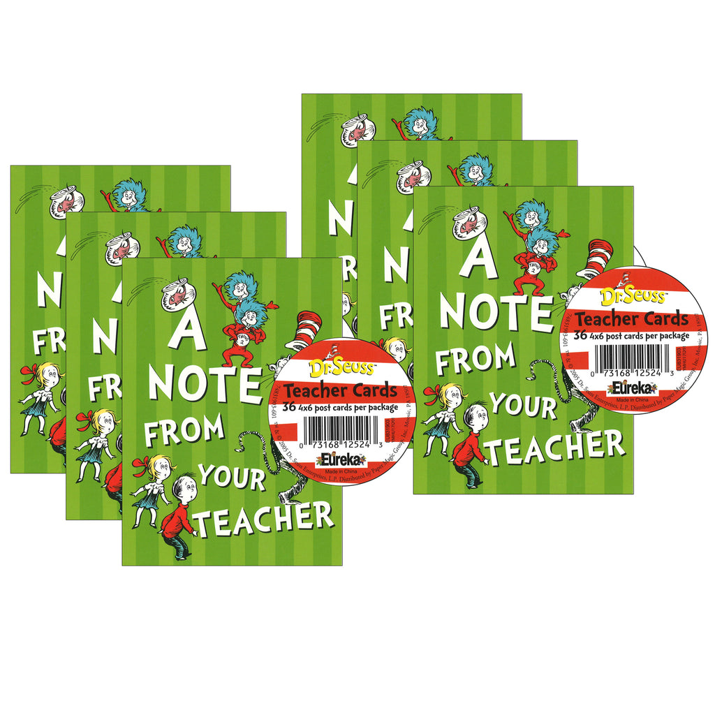 (6 Pk) Cat In The Hat Teacher Cards