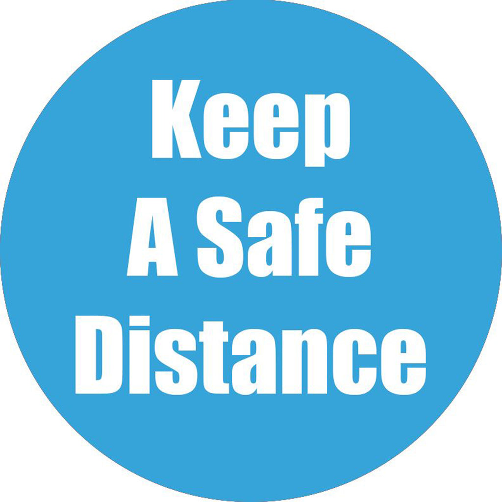 Keep A Safe Distance Cyan Anti-slip Floor Sticker 5pk