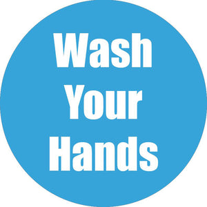 Wash Your Hands Cyan Anti-slip Floor Sticker 5pk