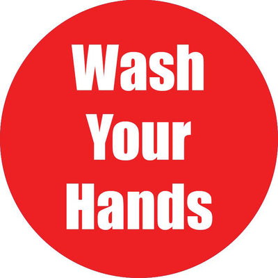 Wash Your Hands Red Anti-slip Floor Sticker 5pk