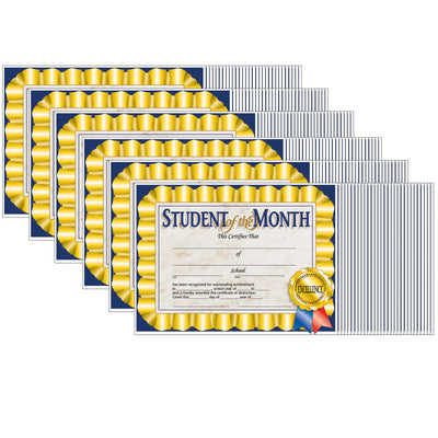 (6 Pk) Student Of The Month Cert 8.5x11 30 Per Pk