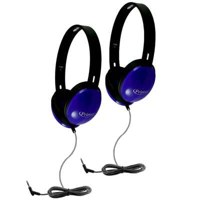 (2 Ea) Primo Stereo Headphones Blue
