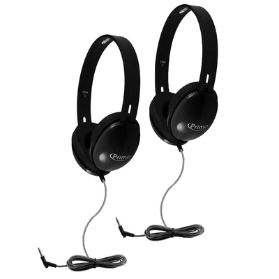 (2 Ea) Primo Stereo Headphones Black
