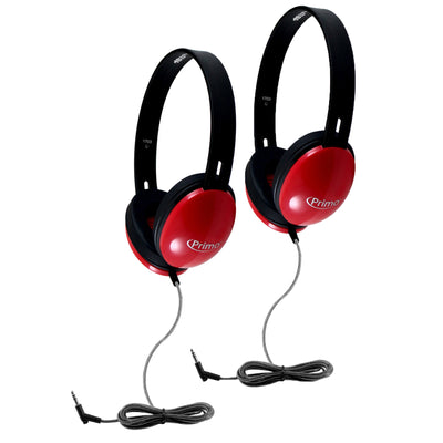(2 Ea) Primo Stereo Headphones Red