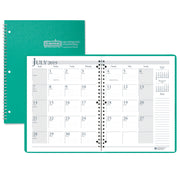 (2 Ea) Academic Monthly Planner Grn 8.5x11 Wirebound