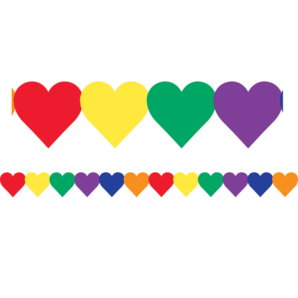 (6 Pk) Multi Color Hearts Border - Student Spotlight