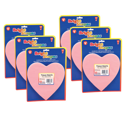 (6 Pk) Tissue Shapes 180 Per Pk 6in Hearts In Red White & Pink