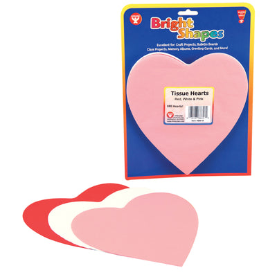 (5 Pk) Tissue Shapes 180 Per Pk 6in Hearts In Red White & Pink