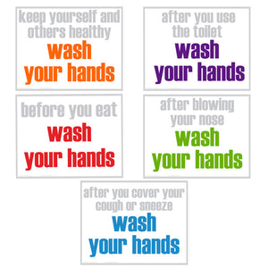 Wash Your Hands 5 Poster Set