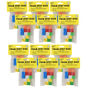(12 Pk) 16mm Foam Dice 12 Per Pk Assorted Color Spot