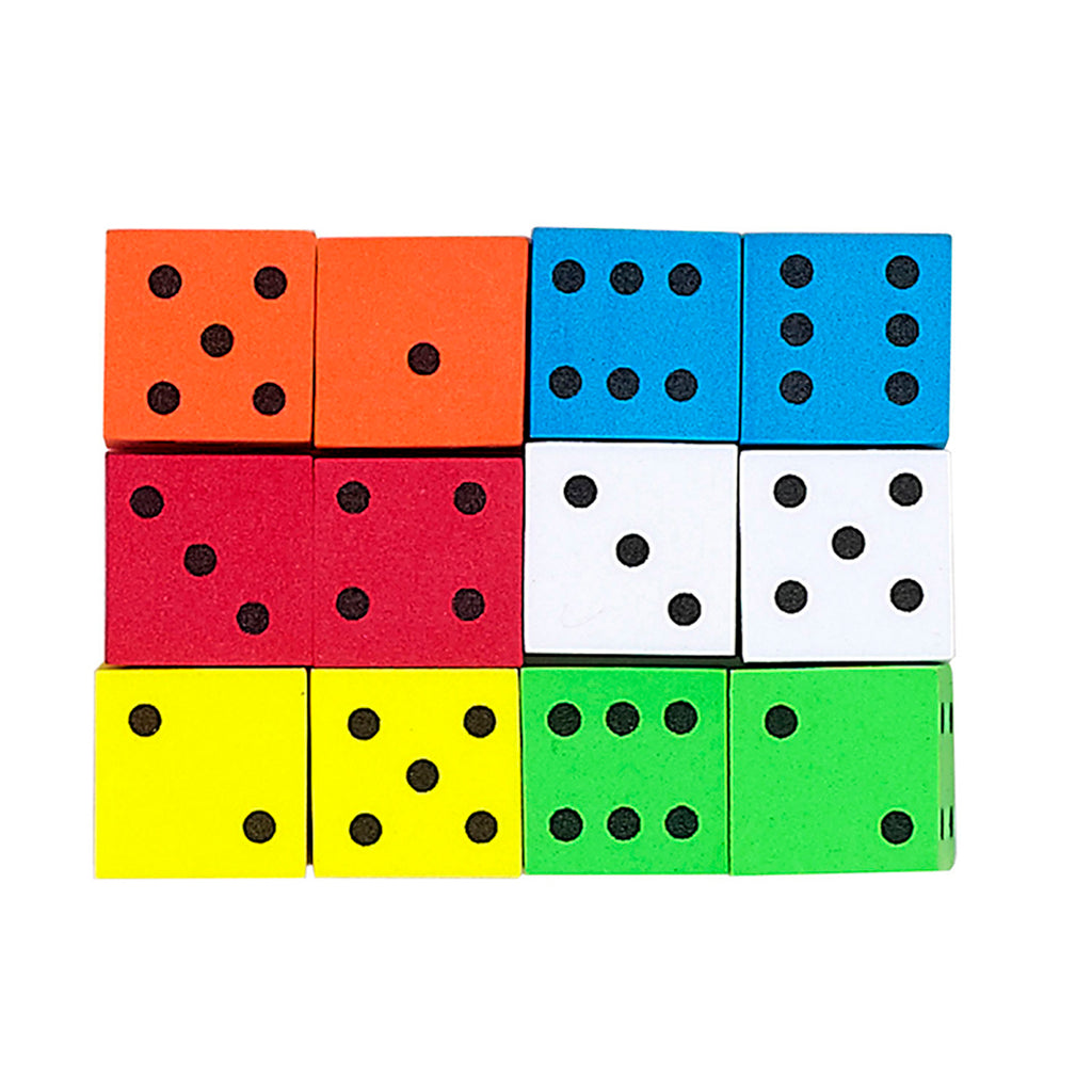 16mm Foam Dice 12pk Assorted Color Spot