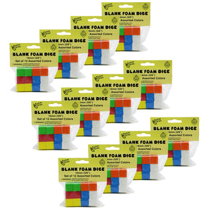 (12 Pk) 16mm Foam Dice 12 Per Pk Assorted Color Blank