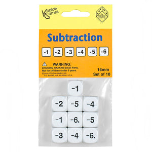 SUBTRACTION DICE SET OF 10