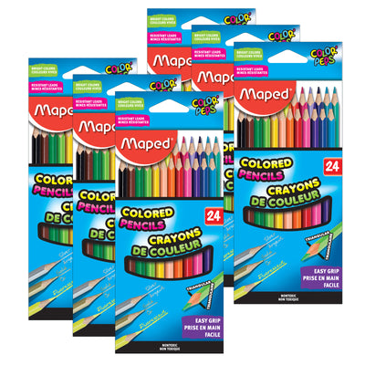 (6 Pk) Triangular Colored Pencils 24 Colrs