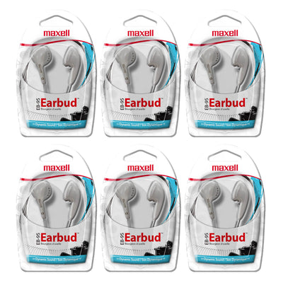 (6 Ea) Maxell Budget Stereo Earbuds White