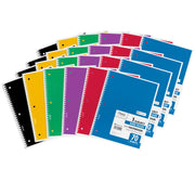 (24 Ea) Notebook Spiral Single Subject 70sht 10.5x8 Asst Colors