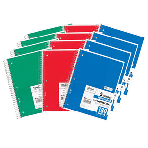 (12 Ea) Notebook Spiral 5 Subject 180sht 10.5x8