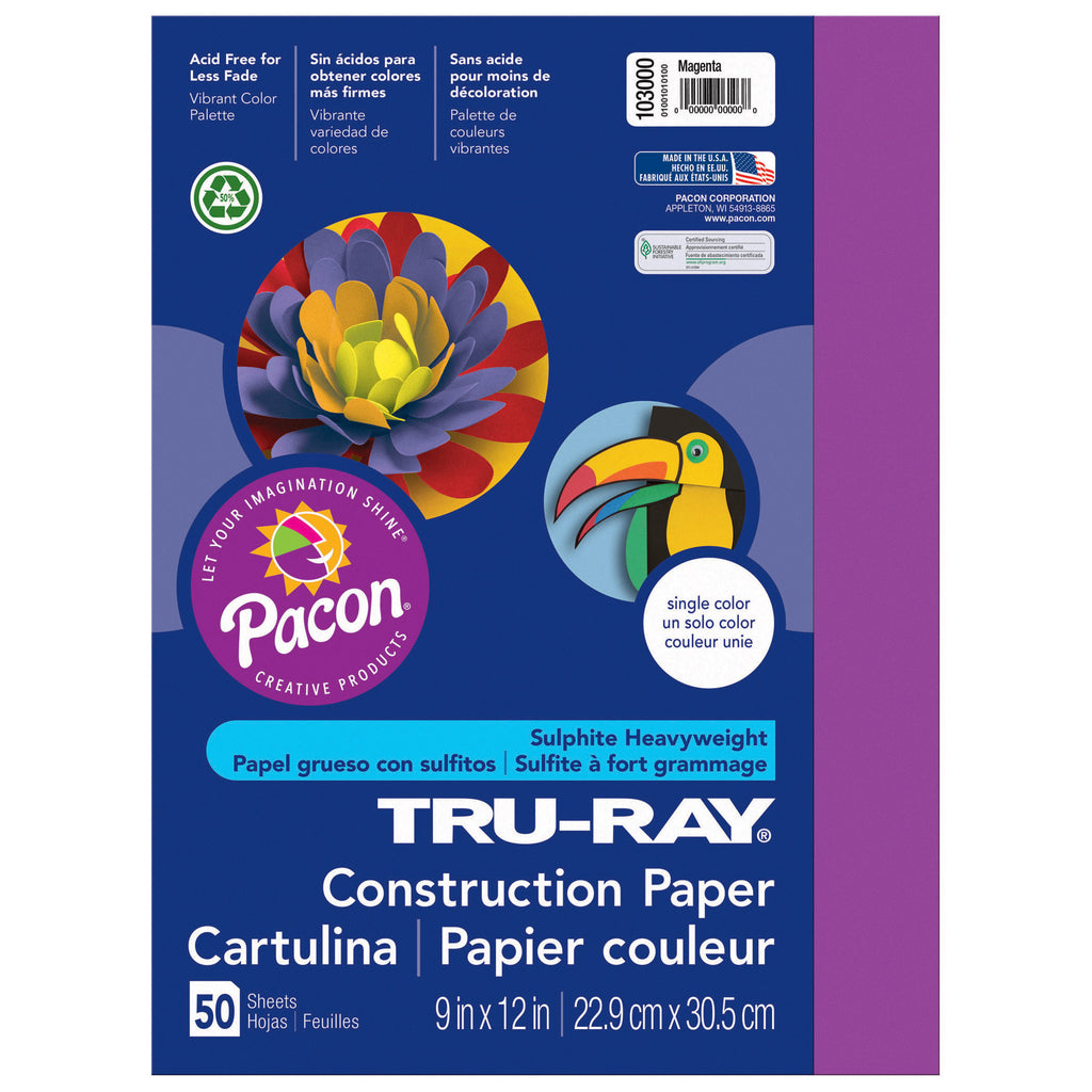 Tru Ray 9 X 12 Magenta 50 Sht Construction Paper