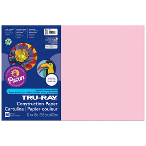 Tru Ray 12 X 18 Pink 50 Sht Construction Paper