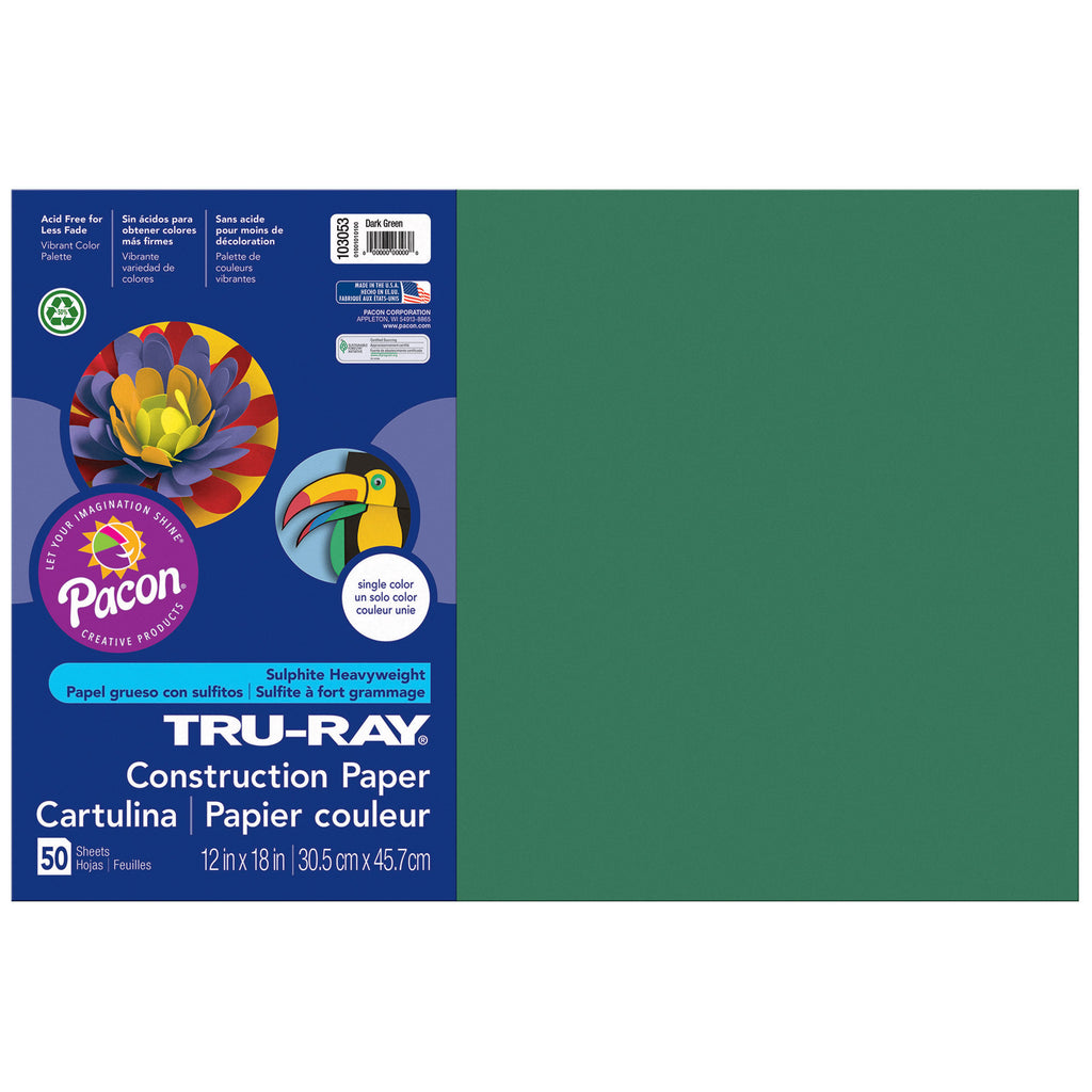 Tru Ray 12 X 18 Dark Green 50 Sht Construction Paper