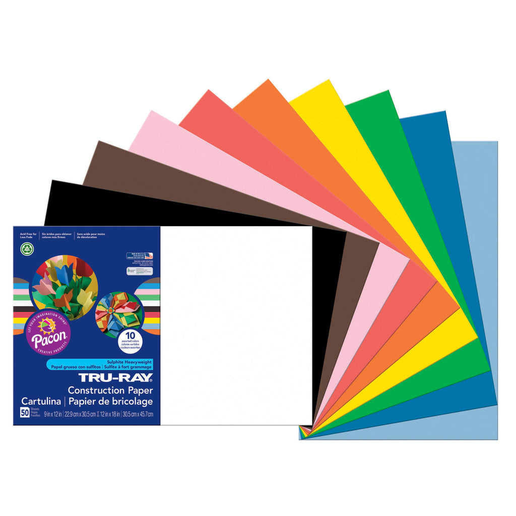 Tru Ray 12 X 18 Assorted 50 Sht Construction Paper