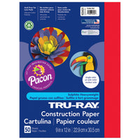 (5 Pk) Tru Ray 9x12 Festive Red Construction Paper 50sht Per Pk