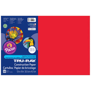 (5 Pk) Tru Ray 12x18 Festive Red Construction Paper 50sht Per Pk - Student Spotlight